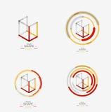 Minimal line design logo, business icon, block Stock Photo