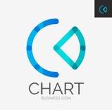Minimal line design logo, chart, graph icon Stock Image