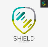 Minimal line design logo, shield icon Stock Images