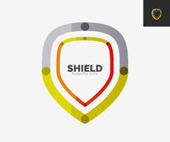 Minimal line design logo, shield icon. Minimal line design logo, business shield icon, branding emblem stock illustration