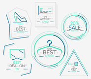 Minimal line design shopping stamps Royalty Free Stock Image