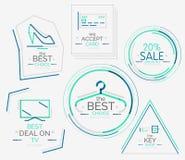 Minimal line design shopping stamps Royalty Free Stock Image