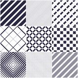 Minimal lines vector seamless patterns set, abstract backgrounds. Collection. Simple geometric designs. Seamless lines vector minimalistic arts. Crossed lines royalty free illustration