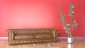 Minimal living room with brown leather sofa and red wall 3D illustration vector illustration