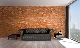 The minimal living room interior design and brick wall pattern background and city view Royalty Free Stock Images