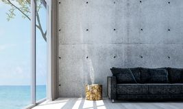 The minimal living room interior design and concrete wall pattern background. 3d rendering interior design concept idea of  lounge and living room Royalty Free Stock Image