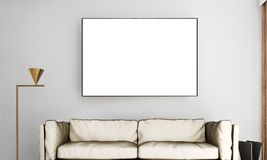 The minimal living room interior design and grey wall pattern background and picture frame. 3d rendering interior design of living room Royalty Free Stock Image
