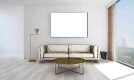 The minimal living room interior design and grey wall pattern background and picture frame. 3d rendering interior design of living room Royalty Free Stock Photo