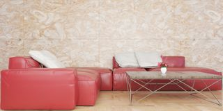 Minimal living room with red leather sofa set and marble wall 3D illustration stock illustration