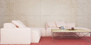 Minimal living room with rose color sofa set and marble wall 3D illustration stock illustration