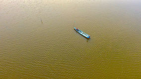 Minimal. Lonely boat at the Lake Royalty Free Stock Photography