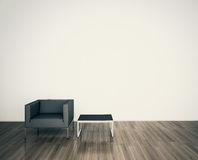 Minimal MODERN armchair TO FACE A BLANK WALL. Modern comfortable interior, 3d image Royalty Free Stock Image