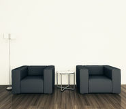 Minimal modern interior armchair. Modern comfortable interior, 3d image Royalty Free Stock Images