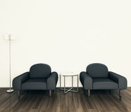 Minimal modern interior armchair. Modern comfortable interior, 3d image Stock Image