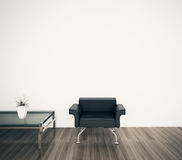Minimal modern interior armchair face blank wall. Minimal modern comfortable interior, 3d image Royalty Free Stock Photos