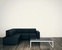Minimal Modern Interior Chair To Face Blank Wall Stock Photo
