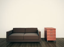 Minimal modern interior couch office. Modern comfortable interior, 3d image Royalty Free Stock Photos