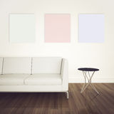 Minimal modern interior couch and table. Modern comfortable interior, 3d image Royalty Free Stock Image