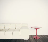 Minimal modern interior couch to face blank wall Stock Photos