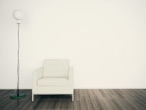 Minimal modern interior and lamp blank wall. Modern comfortable interior, 3d image Stock Photography