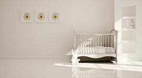 Minimal modern interior of nursery. B&W. Interior of nursery in white tones