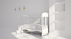 Minimal modern interior of nursery. B&W Royalty Free Stock Image