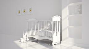 Minimal modern interior of nursery. B&W Royalty Free Stock Image