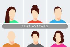 Minimal Modern Male and Female Avatars royalty free illustration