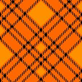 Minimal monochrome black orange seamless tartan check plaid pixel pattern for fabric designs. Gingham vichy pattern background. Eps10 stock illustration
