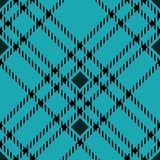 Minimal monochrome blue black seamless tartan check plaid pixel pattern for fabric designs. Gingham vichy pattern background. Eps 10 stock illustration