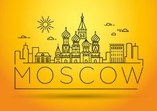 Minimal Moscow City Linear Skyline with Typographic Design. Moscow City Linear Skyline with Typographic Design vector stock illustration