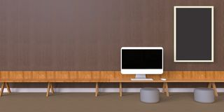 Charmant Minimal Office And Desk On One Photo Frames Wood Wall Vector Illustration
