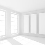 Minimal Office Interior Design. White Building Construction. Abstract Futuristic Architecture Background. Minimal Office Interior Design. Empty Room with Window Royalty Free Stock Image