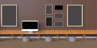 Minimal Office and Photo Frames desk on wood wall. L / modern Design art Stock Photos