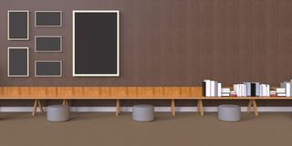 Minimal Office and Photo Frames on desk wood wall. / modern Design art Royalty Free Stock Photos