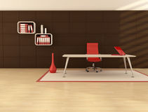Minimal office space. With modern desk in front a dark wooden paneling Royalty Free Stock Images