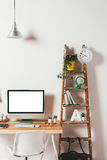 Minimal office on white background. Stock Photos