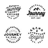 Minimal old-fashoned logos on adventure theme. Minimal old-fashioned logos on adventure theme. Typography badges in simple vintage style, vector Royalty Free Stock Images