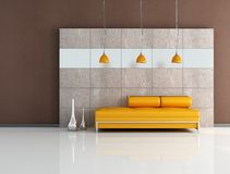 Minimal orange and brown lounge Royalty Free Stock Photos