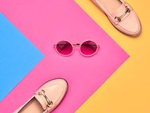 Fashion Luxury Summer lady. Minimal. Vintage. Minimal. Pastel Art Colorful Style. Fashion Glamor woman shoes. Trendy Sunglasses, Accessories. Flat lay. Luxury Stock Images