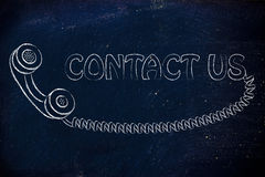 Minimal phone illustration, contact us Stock Photos
