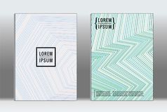 Minimal placard. Vector geometric cover. Hipster trendy report template. Set of futuristic line gradient graphic design flyers. Fashion minimal layouts Royalty Free Stock Photos