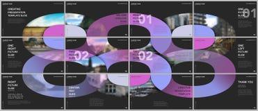 Minimal presentations design, portfolio vector templates with circle elements on black background. Multipurpose template. For presentation slide, flyer leaflet stock illustration