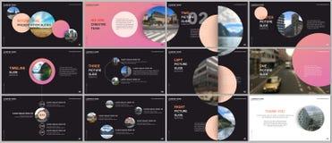 Minimal presentations design, portfolio vector templates with colorful circle elements on black background. Multipurpose. Template for presentation slide, flyer vector illustration