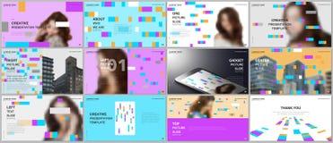 Minimal presentations design, portfolio vector templates with colorful elements, rectangles, gradient backgrounds vector illustration
