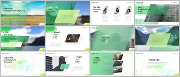 Minimal presentations design, portfolio vector templates with colorful gradient geometric background. Green design stock illustration