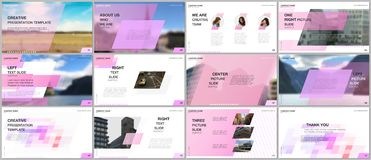 Minimal presentations design, portfolio vector templates with colorful gradient geometric background. Pink design vector illustration