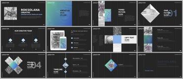Minimal presentations design, portfolio vector templates with elements on black background. Multipurpose template for vector illustration