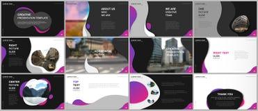 Minimal presentations design, portfolio vector templates with fluid colorful trendy gradients geometric shapes. Multipurpose template for presentation slide royalty free illustration