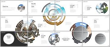 Minimal presentations design, portfolio vector templates with gray colorful circle elements on white background. Multipurpose template for presentation slide vector illustration